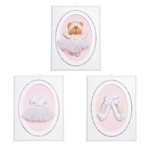 Trio De Quadrinhos P/ Quarto Bebê Bailarina Branca Infantil