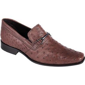 Sapato Exótico Silverado Couro De Avestruz Cor Tan - 100% Co
