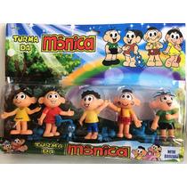 5 Bonecos Miniatura Turma Da Mônica Cebolinha Cascao Magali