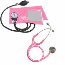 Kit Estetoscópio + Aparelho De Pressão Arterial Rosa