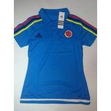 Camiseta Seleccion Colombia Oficial 2015 Polo Mujer Azul