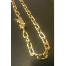 Cordão Cadeado Em Prata Banhado A Ouro 24k