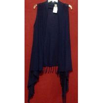 Chaleco Flecos Túnica Hippie Unitalla Azul Marino Vintage