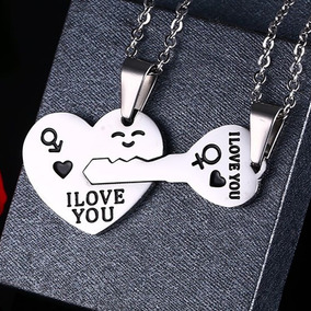 Collar Corazón Y Llave Acero Inoxidable Pareja Novios Amor