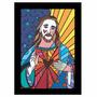 Quadro Releitura Romero Britto - Jesus(45x65cm) Mold.preta