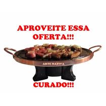 Kit Fondue 27cm Pedra Sabão Rechô E Chapa De Carne