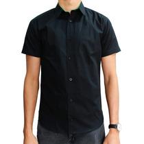Camisa Manga Corta Negra Lisa