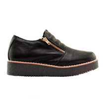 Zapato Mujer Base 3cm Cuero Ecológico Negro Doble Cierre