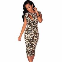 Sexy Vestido Animal Print Leopardo Con Abertura Al Costado