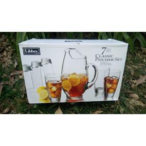 Jarra Libbley Crital Y 6 Vasos Agua Vidrio Cocina Comedor