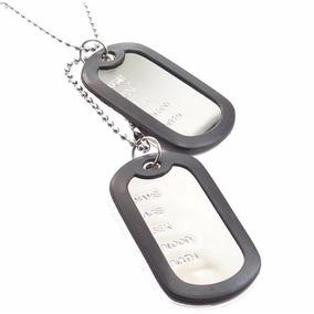 Corrente Militar Placa Identificação Exercito Aço Inox Colar