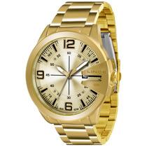 Relógio Masculino Lince Dourado Grande Mrg4333s C2kx