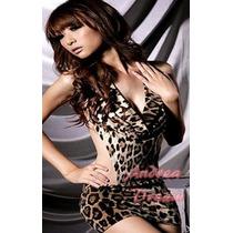 Vestido Curto Sensual De Oncinha Sexy - Manequins 36 A 40