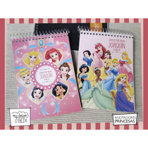 10 Anotadores Personaliza Princesas Disney 40 Hojas Souvenir