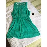 Vestido Verde Jade Forever 21 Con Tejido Espalda. Talla L