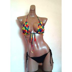 Bikini Sexy Traje D Baño Hilo Tanga Tejido A Mano, Ganchillo