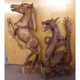 Dragon Tallado Y Caballo De Madera Teka
