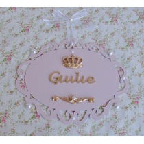 Princesa Placa Luxo Perola Porta Maternidade Coroa Provençal