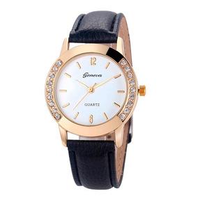 Relógio Feminino Geneva Couro C/ Strass Frete Grátis Barato