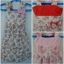 Vestido Tricoline Infantil Menina Aniversário Festa Kit 6 Pç