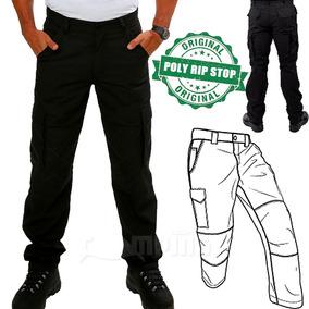 Calça Cargo Masculina Preta 6 Bolsos Reforçada Poly Ripstop