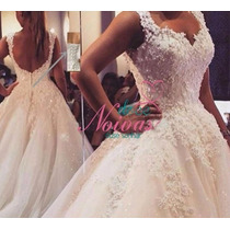 Vestido Noiva Princesa Pérolas G Alça Pronta Entrega