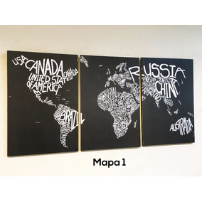 Cuadros Triptico Mapamundi A Elección Xl 93x44 Cm Total
