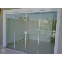 Porta De Vidro Incolor Temperado 8mm Alumínio Branco