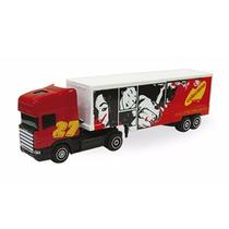 Miniatura Caminhão Guisval Scania Vermelho, Carreta Bau
