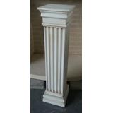 Columna De Yeso Patinada En Color Hueso Dorica Cuadrada 80cm