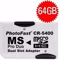 Psp - Adaptador Memory Stick Pro Duo + 2 Cartão Memória 32gb