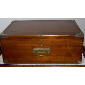 Caja Madera Lustrada Herrajes Bronce Varios Usos Olivos Ex