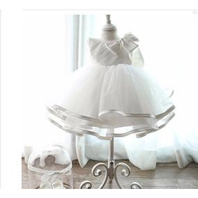 Vestido Batizado Festa Bebê Recém Nascido Branco