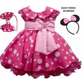 Vestido Minnie Rosa Pink 1-4 Anos Com 2 Tiaras