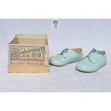 Antiguos Zapatos 100% Cuero Para Bebe C 1950 Mib