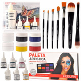 Combo Maquillaje Artístico Pincel Body Painting Heburn