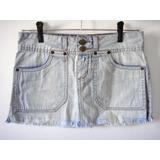 Mini Saia Jeans Claro Loja Ecletic Tam. 38 Veja Medida -foto