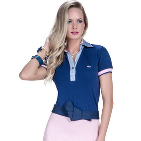 Blusa Pólo Feminina Azul Marinho Principessa Nicole