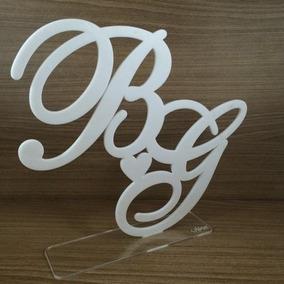 Letras, Logos Topo De Bolo Acrílico Branco 15cm De Altura