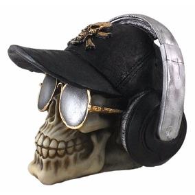 Crânio Caveira Boné E Fone Decorativo Halloween Resina