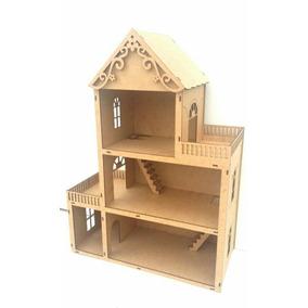 Casa Casinha De Bonecas Polly Em Mdf Cru