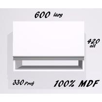Armário Aéreo 100% Mdf Branco C/ Puxador Em Alumínio