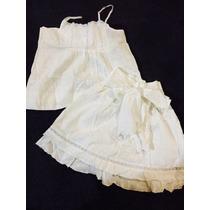Conjunto Vestido Falda Y Blusa Para Niña Talla 4 Blanco