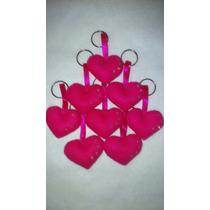 Chaveiro De Coração Em Feltro Rosa Pink- Unidade
