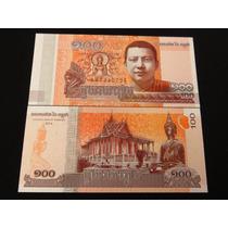 Billete Del Mundo Camboya 100 Riels 2014 Nuevo Unc Hermoso