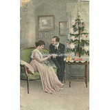 Pr06 Antigua Postal Novios Arbol Navidad Romantica Fiestas