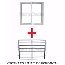 Ventana Aluminio Blanco 200x150 Cm + Reja Tubos Horizontales