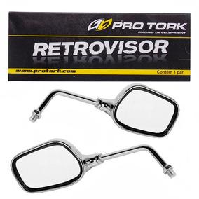 Espelho Retrovisor Mini Oval Para Yamaha Cromado - Par