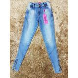Calça Jeans Cintura Alta Palazzi Mescla Com Ziper Na Barra