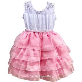 Vestido Infantil Daminha Florista Rose Princesa Com Tiara